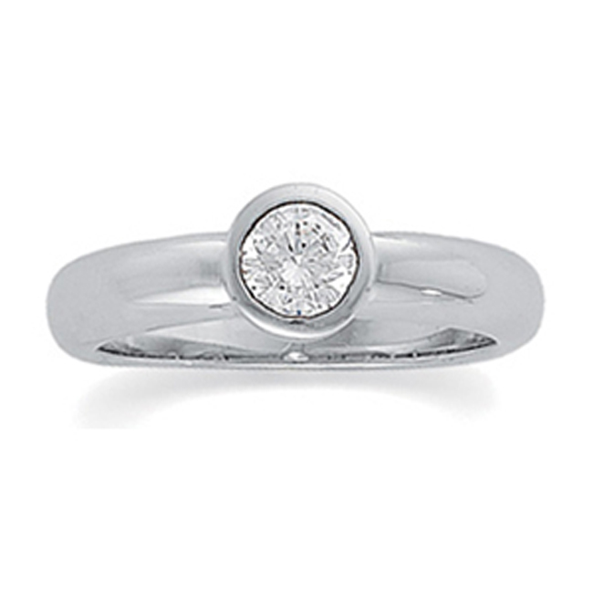 14k Gold Round Bezel Solitaire Diamond Ring (0.50.ct.tw)