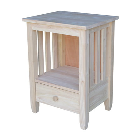 International Concepts Bj6td Mission Tall End Table With Drawer  Ready To Finish