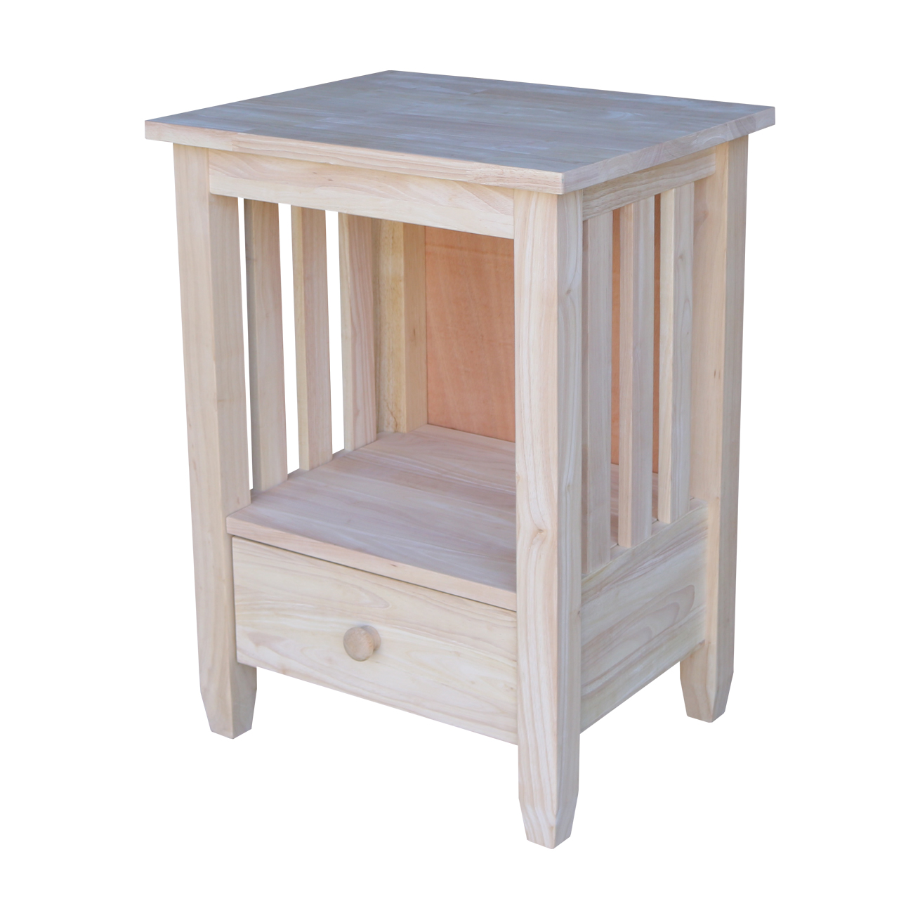 International Concepts Bj6Td Mission Tall End Table with Drawer, Ready To Finish