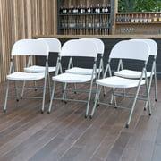 Flash Furniture Plastic Folding Chair (6 Pack), White