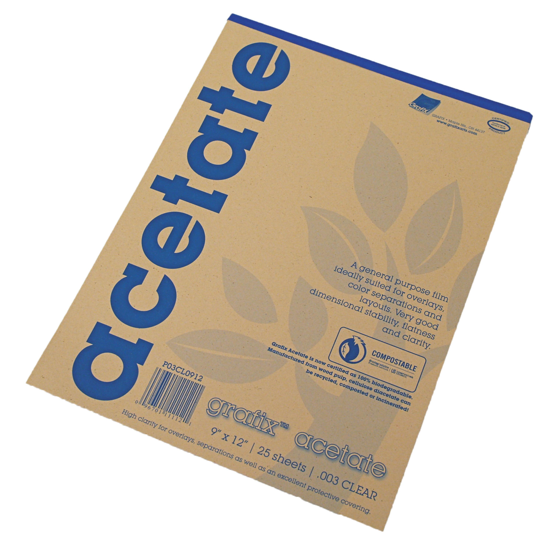 Grafix Clear Acetate Film, .003mm, 9in x 12in