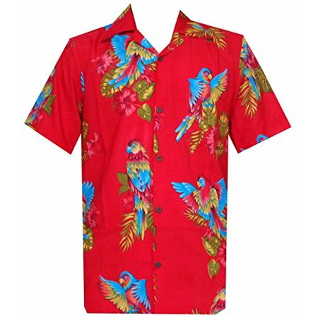 Hawaiian Party Shirts (Hawaiian Shirts 36 Men Parrot Print Beach Aloha Party Pure Red)