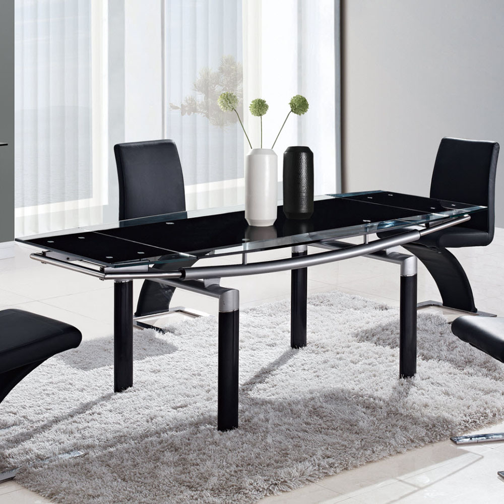 global furniture glass top dining table w black center detail