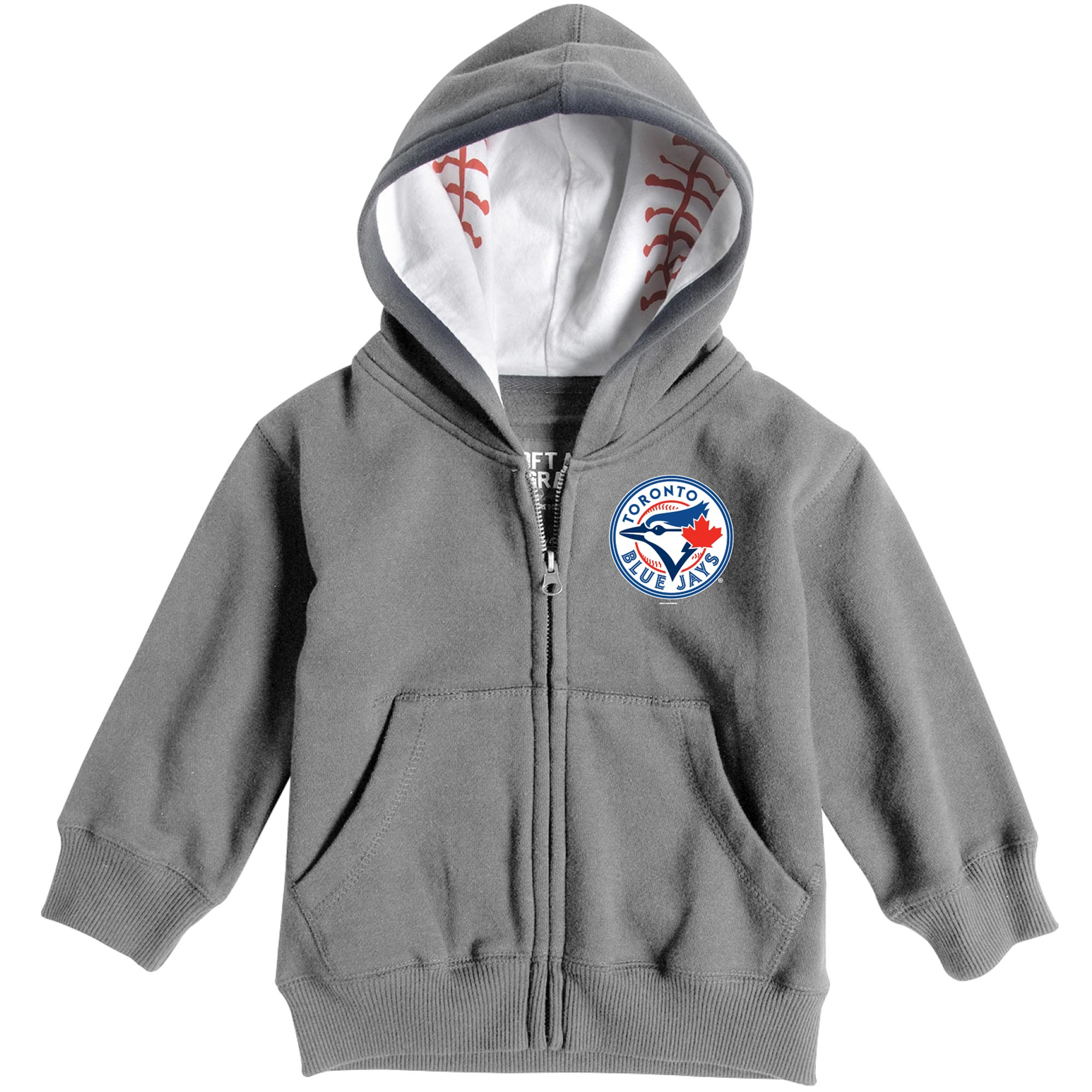 Toronto Blue Jays Soft as a Grape  Infant Baseball Print Full-Zip Hoodie - Heathered Gray