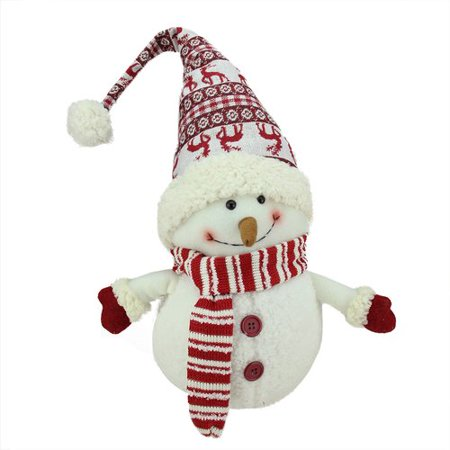 Northlight Seasonal Chubby Smiling Snowman with Reindeer Hat Plush Table Top Christmas Figure