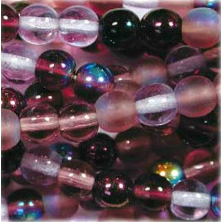Czech Glass Druk 4mm Round Lilac Mix 100