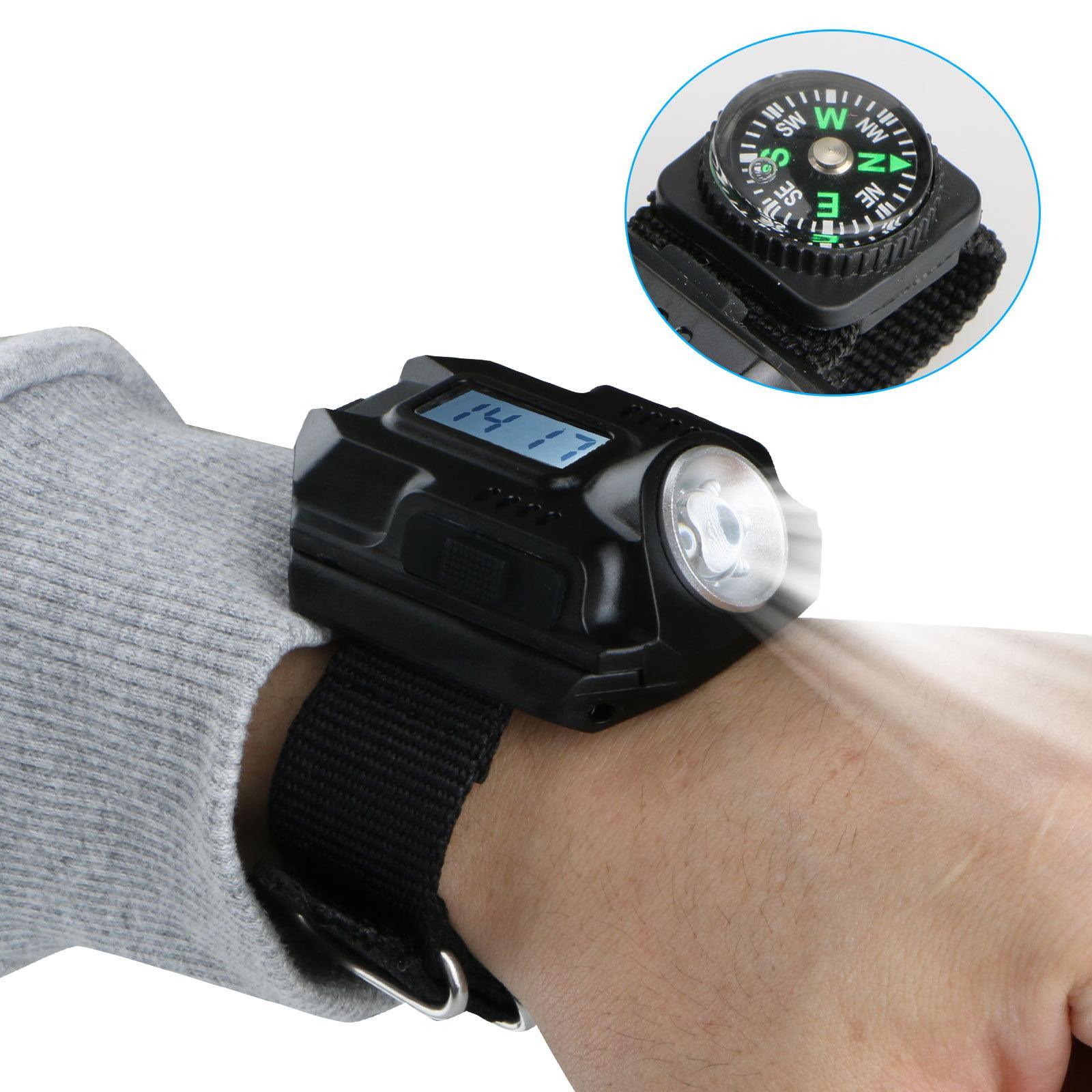 Wrist Watch with Flashlight, EEEKit Tactical Rechargeable 200 Lumens LED Torch Wrist Light IPX7 Waterproof Wrist Light Quartz Watch Compass for Hiking, Riding, Running, Camping