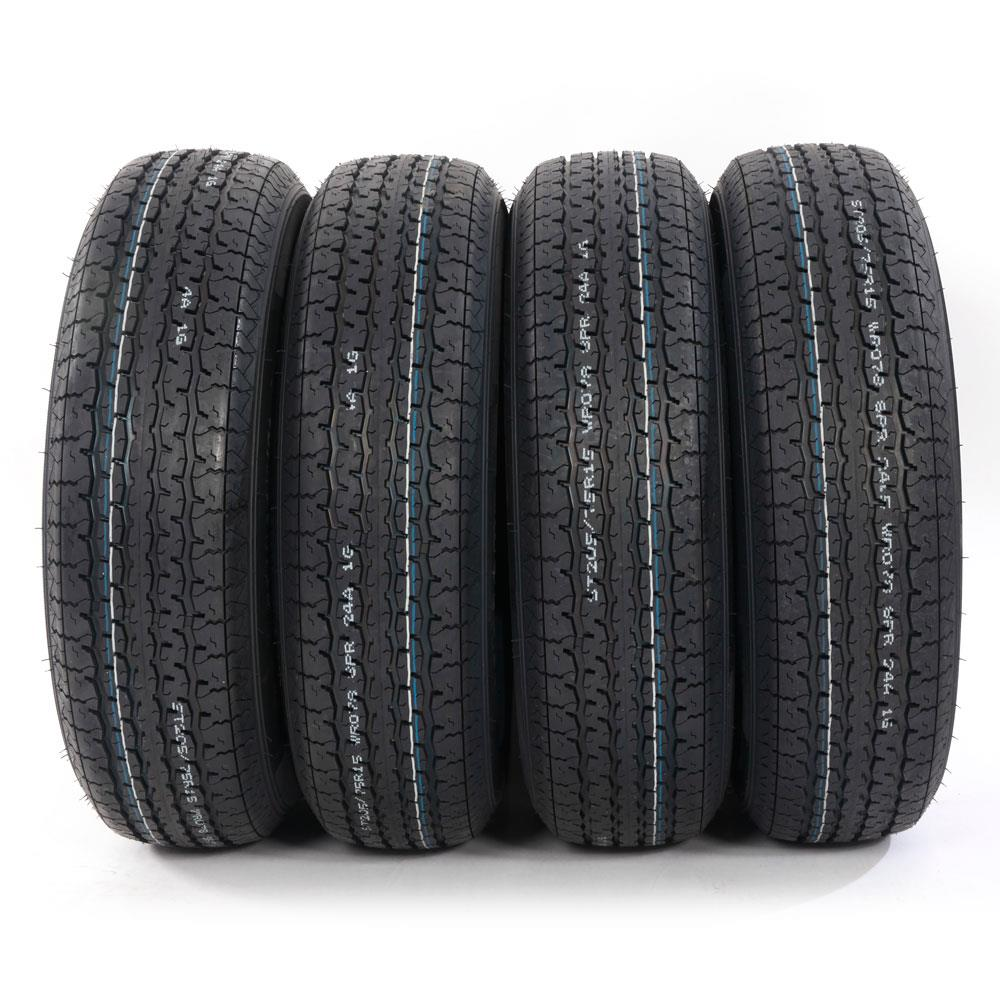 Ktaxon Set of 4 ST205/75R15 Trailer Tires 8 PLY RATED 205/75R15 New 2057515