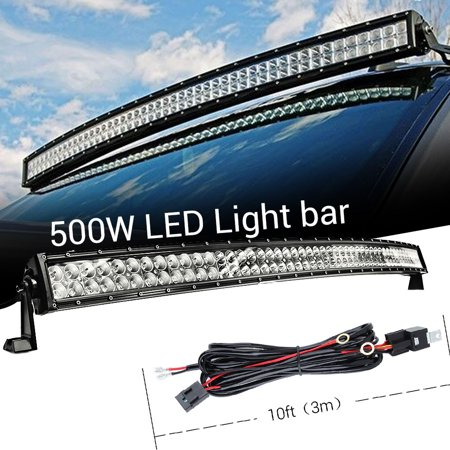 Wondrous 50 500W Curved Light Bar With Wiring Harness Work Light For Wiring Cloud Brecesaoduqqnet