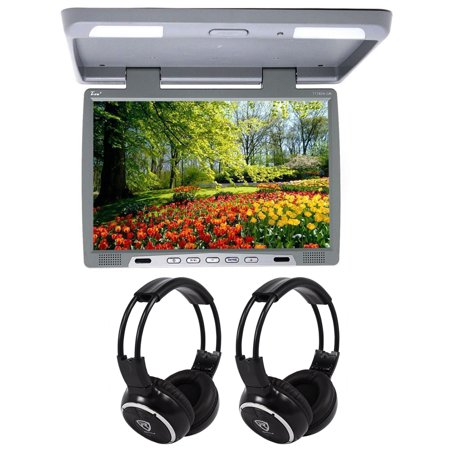 Tview T176ir Gray 17   Car Video Flip Down Overhead Monitor  2 Wireless Headsets