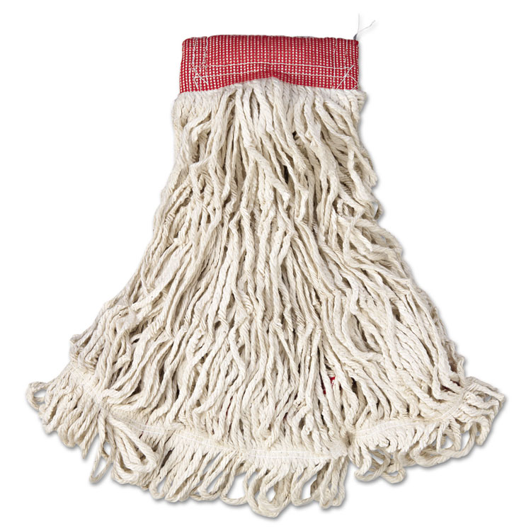 """Web Foot Wet Mop, Cotton/synthetic, White, Large, 5"""" Red Headband, 6/carton"""