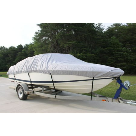 VORTEX HEAVY DUTY 5 YEAR CANVAS 13, 14, 15.5 FT GREY/GRAY VHULL FISH SKI RUNABOUT COVER FOR 13 TO 15.5 FT BOAT, BEST AVAILABLE COVER (FAST SHIPPING - 1 TO 4 BUSINESS DAY