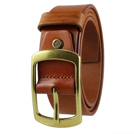 Gelante Mens Leather Belt - One Piece Top Grain Thick Heavy Duty 38002-Brown-M ()