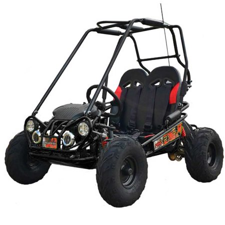 Black TrailMaster Mini XRX/R+ (Plus) Upgraded Go Kart with Bigger Tires, Frame, Wider Seat