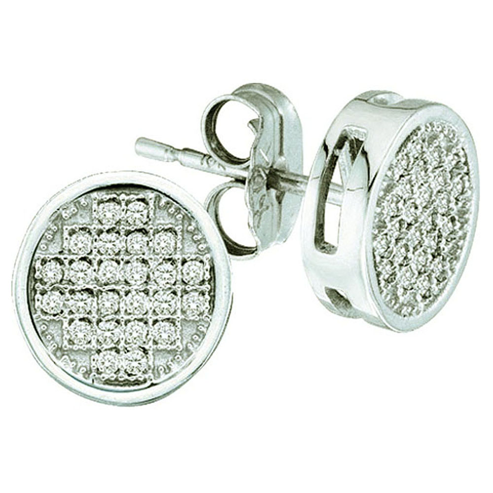 0.10 Carat (ctw) 10K White Gold Round White Diamond Ladies Micro Pave Setting Circle Stud Earrings 1/10 CT
