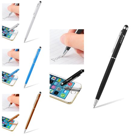 Insten 4 Color Pack (Black+Silver+Blue+Orange) Touch Screen Stylus Ballpoint Pen for Samsung Nokia LG ZTE HTC iPad Mini Pro Air iPhone 6s 6 Plus SE 5s Smartphone Tab Tablet