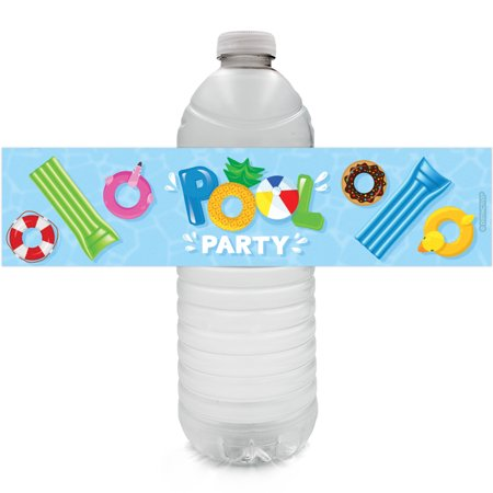 Pool Party Water Bottle Labels 24 count | Kids Birthday Decoration Stickers - Pool Party Items