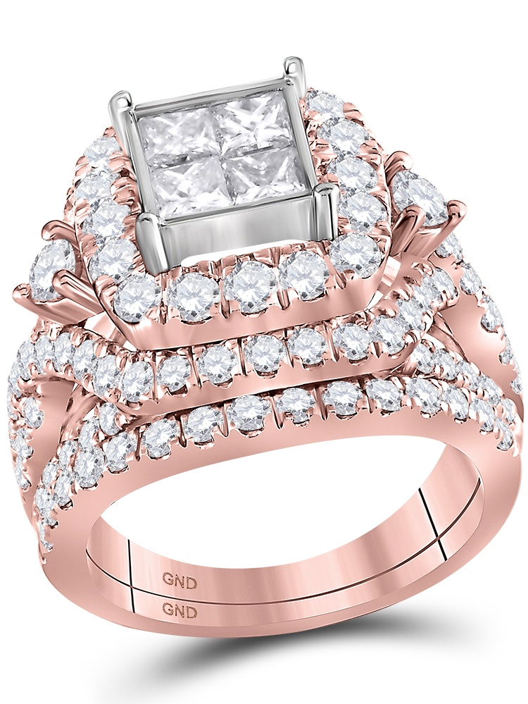 14kt Rose Gold Womens Princess Diamond Cluster Bridal Wedding Engagement Ring Band Set 3-1 3 Cttw by