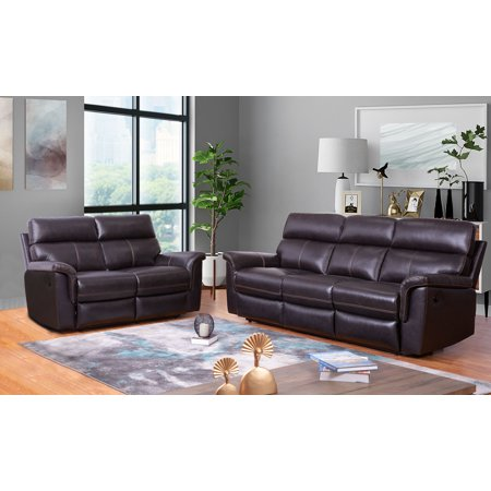Devon & Claire Newport Top Grain Brown Leather Sofa and Loveseat Recliner  Set