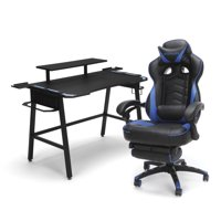 RESPAWN Gaming Chair (RSP-110) and Gaming Desk (RSP-1010) Bundle, eSports Gaming Battlestation, in Blue (PKG-W-R02-BL-BLU)
