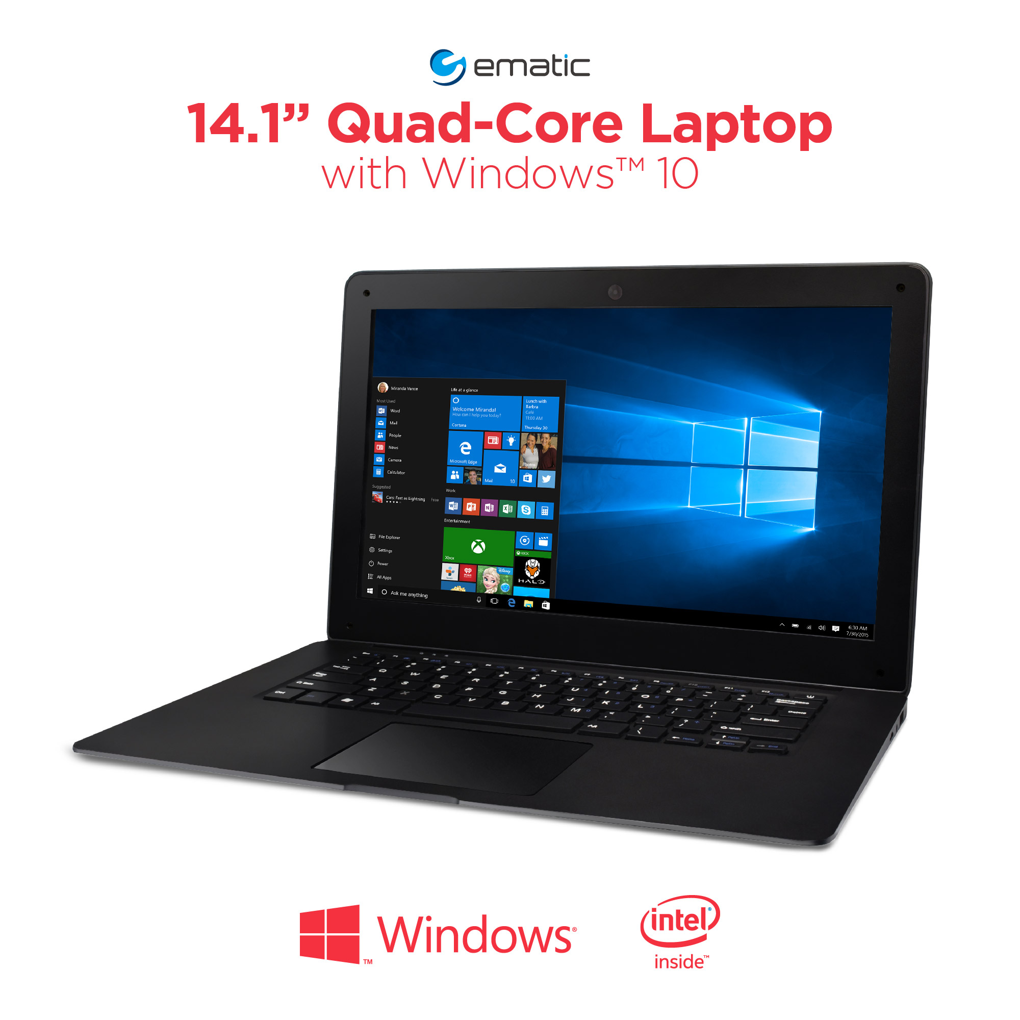 "Ematic 14.1"" EWT144 Laptop PC with Intel Atom Quad-Core Processor, 2GB Memory, 32GB Flash Storage and Windows 10"