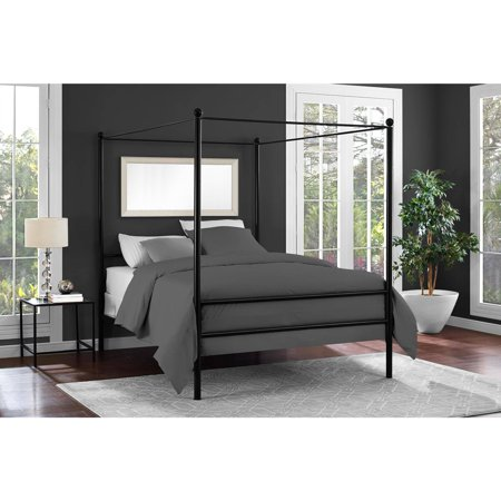 Mainstays Metal Canopy Bed, Multiple Colors, Multiple Sizes ()