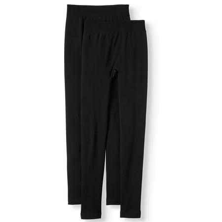 Time and Tru Women's Fleece Lined Seamless Leggings, 2-Pack (Brand Name Leggings)
