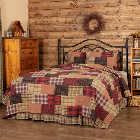 Crimson Plaid - Crimson Red Rustic & Lodge Bedding Laramie Cotton Pre-Washed Patchwork Plaid California King Quilt Set (Quilt, Sham)