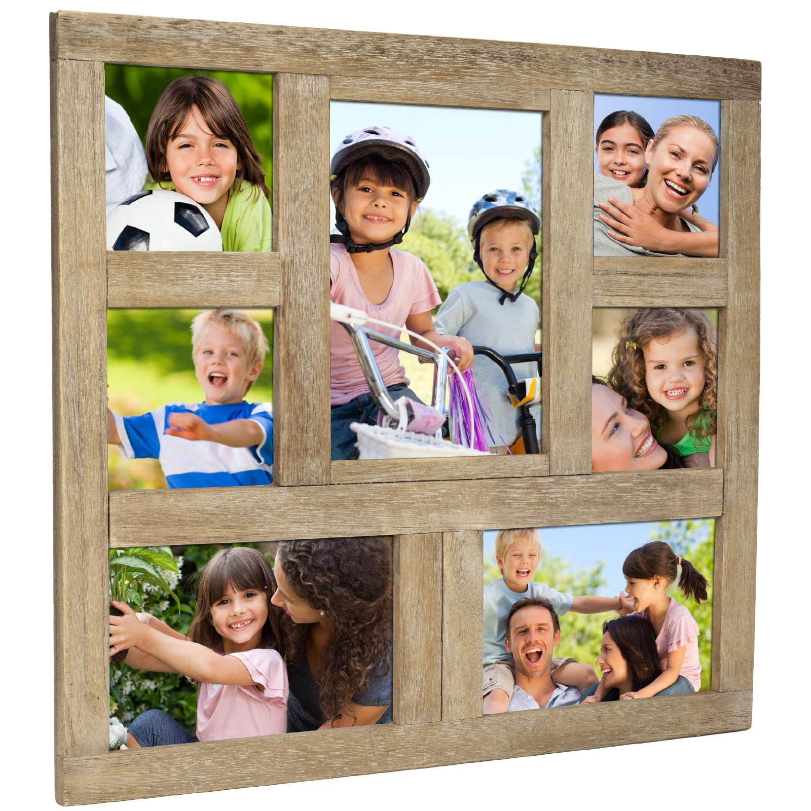 Rustic Distressed Wood Collage Picture Frames Holds 7
