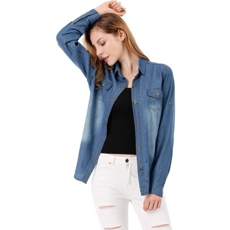 Denim Collar Job Shirt - Women's Rolled Sleeves Point Collar Denim Shirt Western Tunic Top Blouse Shirt
