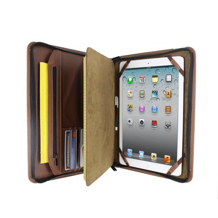 Refillable Notepad Holder - Brown Executive PadFolio Case with Notepad Holder and Pockets for Apple iPad 2,3,4, iPad Air, iPad Air 2 and iPad Pro 9.7 inch - Folio Zippered Cover