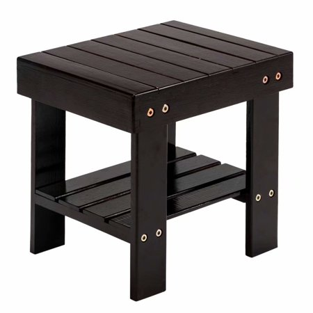 Small Bamboo Step Stool Shoe Bench Multi Functional Wooden Seat Kids Foot Ideal For Entryway Foyer Hallway Garden Black