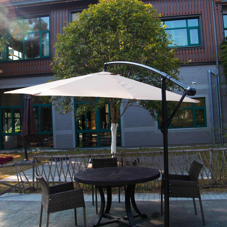 Kinbor 10 Ft Outdoor Patio Cantilever Umbrella Freestanding Garden Furniture Tan