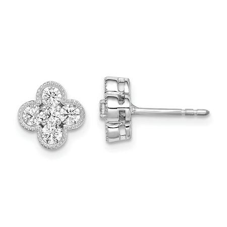 Vs2 Lab - 14k White Gold True Origin Lab Grown Diamond VS1/VS2, D E, Bloom Post Earrings