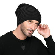Men Warm Knitted Hat Winter Slouchy Beanie Skull Slouch Cap for Men, Black