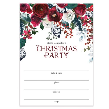 Christmas Invitations.Red Christmas Party Invitations With Envelopes Pack Of 50 Elegant Floral Large Blank 5x7 Fill In Celebration Holiday Dinner Cocktail Seasonal