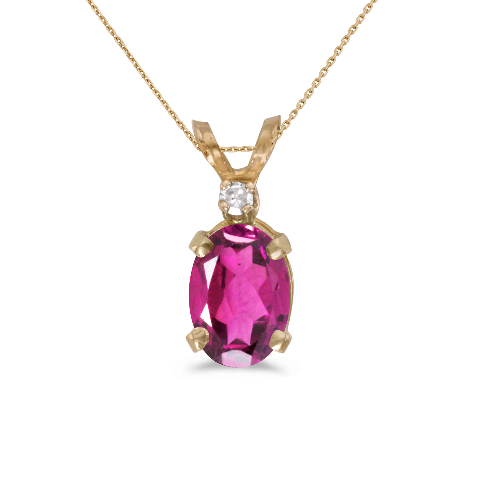 "10k Yellow Gold Oval Pink Topaz And Diamond Pendant with 16"" Chain by"