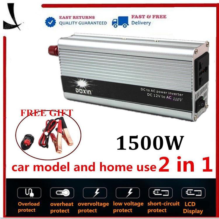 1500W Power Inverter DC 12V to 220-240V AC Car Solar Powe...