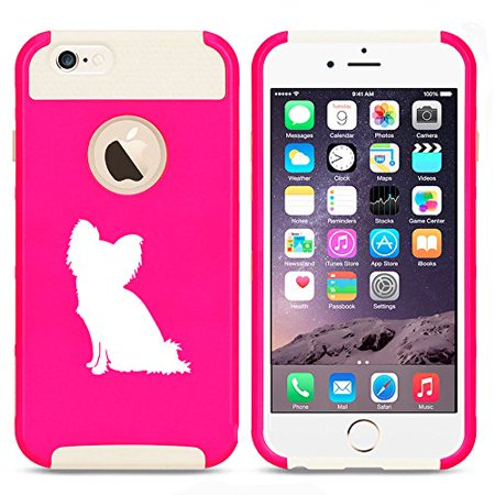 For Apple iPhone 7 Shockproof Impact Hard Soft Case Cover Papillon (Hot Pink-White)