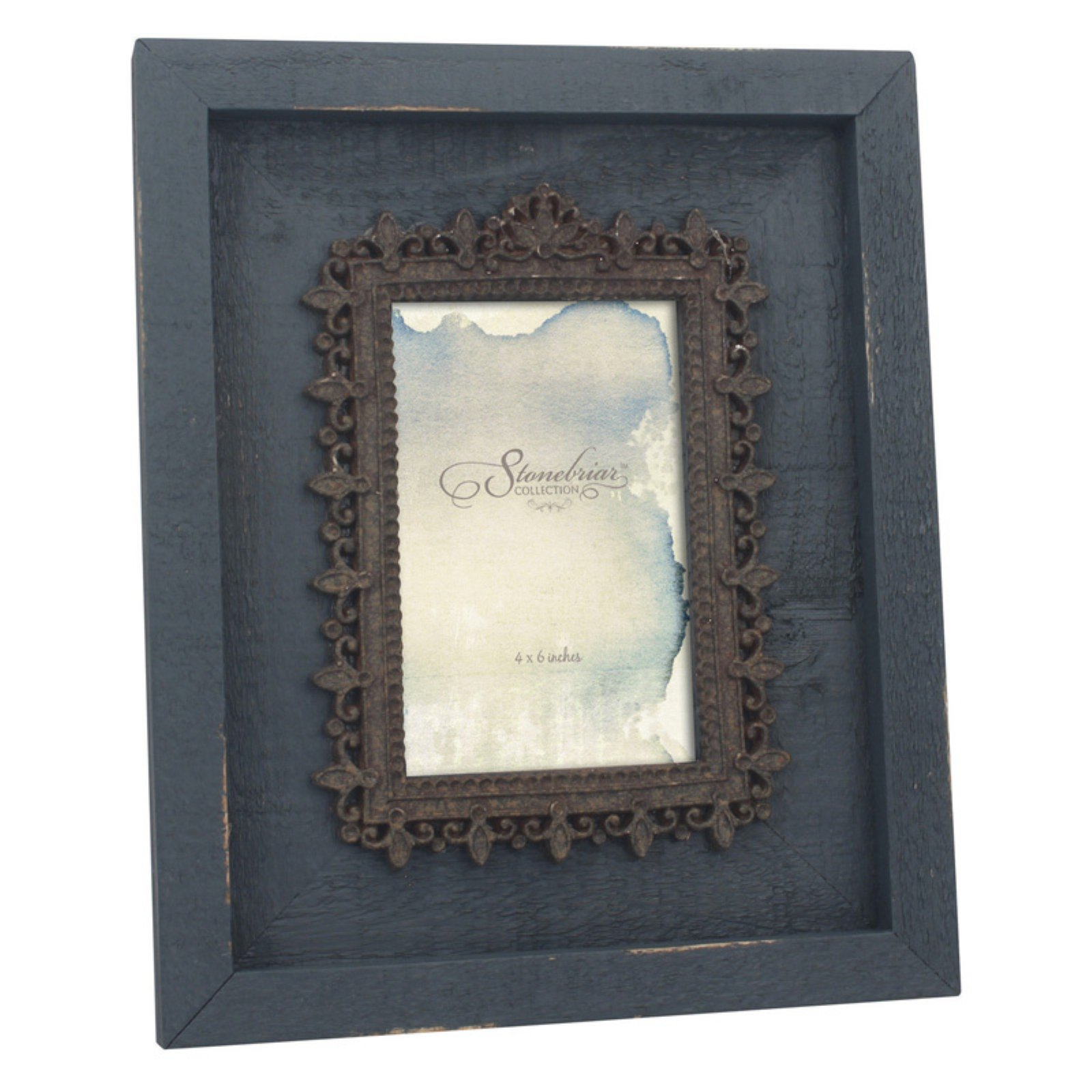 CKK Home Decor Weathered 4x6 in. Photo Frame with Filigree Opening