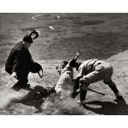 High angle view of a baseball player sliding on home plate with a catcher attempting to tag him Canvas Art -  (24 x 36)
