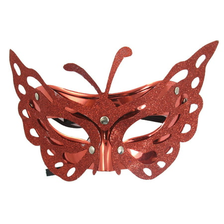 Unique Bargains Women Glitter Powder Covered Halloween Half Face Mask Burgundy - Unique Masks