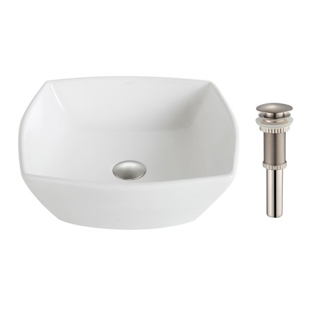 KRAUS Elavo™ Flared Square Ceramic Vessel Bathroom Sink in White with Pop-Up Drain in Brushed Nickel