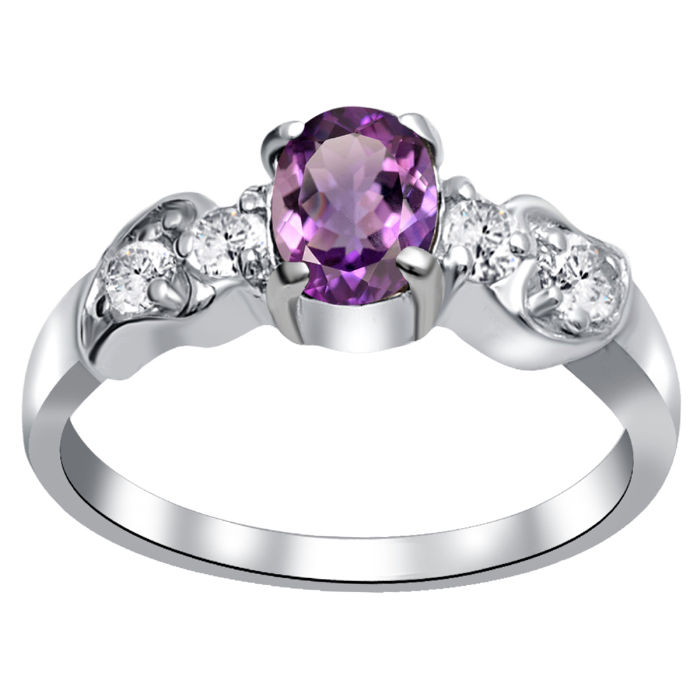 Details about  /0.9 Ct Natural Purple Amethyst 925 Sterling Silver Wedding Ring For Women 300