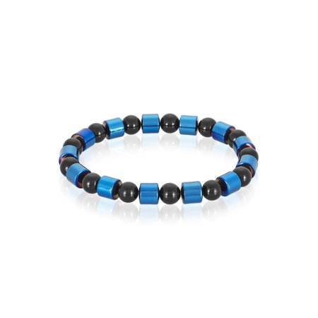 Blue Plated Hematite and Onyx Stone Beaded Bracelet (8mm)](Blue Bead Bracelet)
