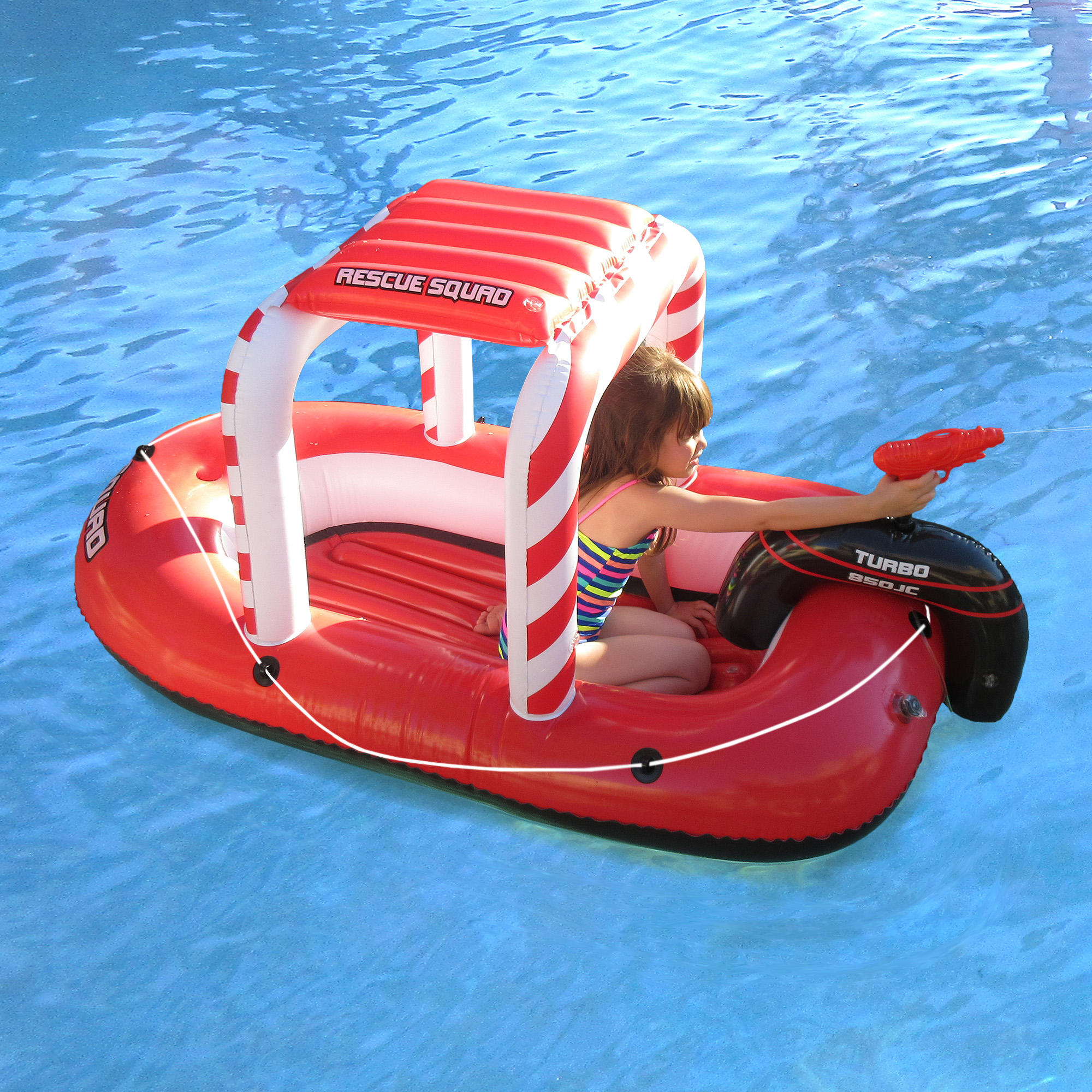 "Blue Wave Rescue Squad Inflatable Boat w  Squirter, 70""L x 37""W x 37""H Red & White by Blue Wave"