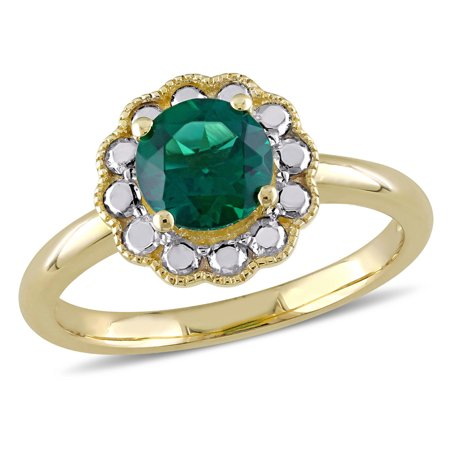 Solitaire Created Synthetic Emerald Ring 1.00 Carat (ctw) in 10K Yellow Gold - image 3 de 3