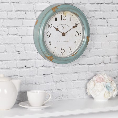 FirsTime & Co.® Teal Patina Farmhouse Wall Clock, American Crafted, Aged Teal, 8.5 x 2 x 8.5 in, (25678)