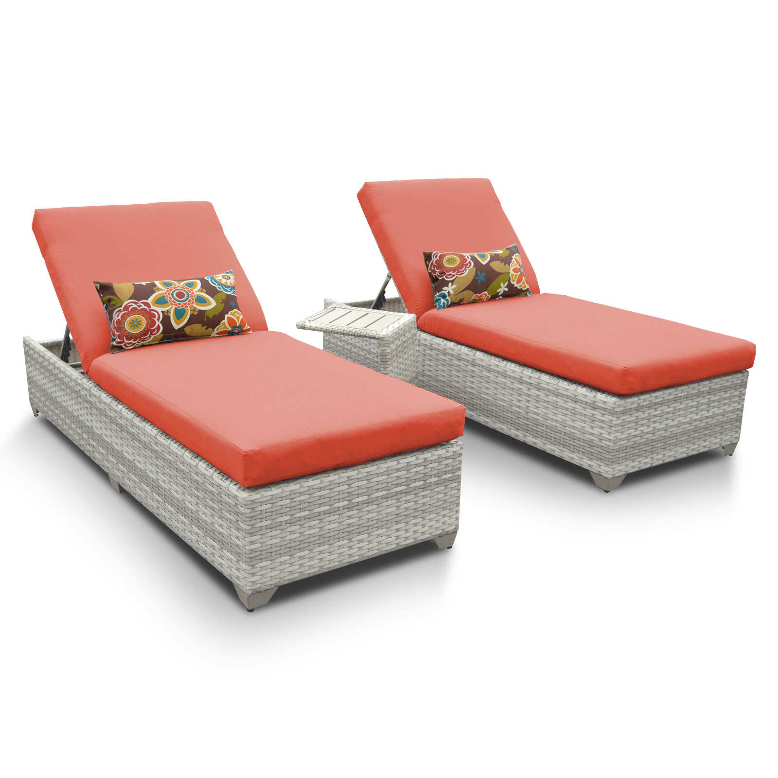 TK Classics Fairmont Chaise Set of 2 Outdoor Wicker Patio...