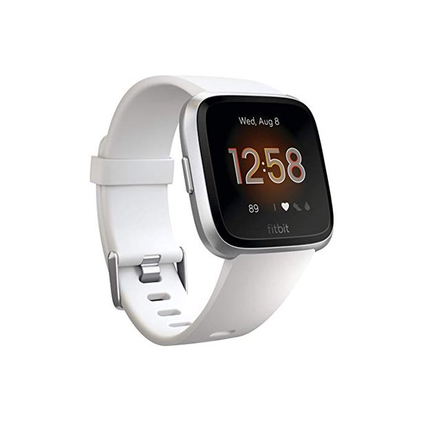 Refurbished Fitbit FB415SRWT Versa Smart Watch, One Size (S & L Bands Included) White/Silver Aluminum Lite Edition